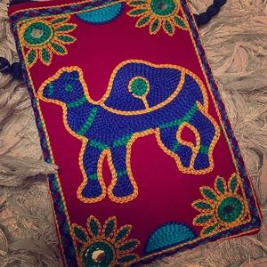 Beautiful, unique pouch with embroidered camel